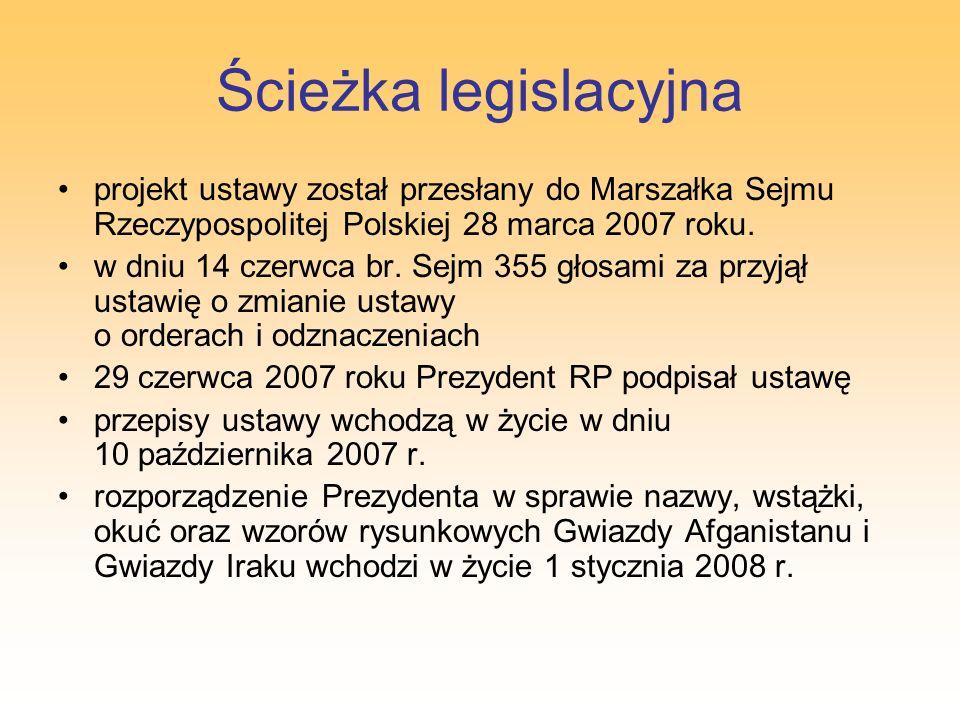 Ścieżka legislacyjna projekt ustawy został przesłany do Marszałka Sejmu Rzeczypospolitej Polskiej 28 marca 2007 roku.