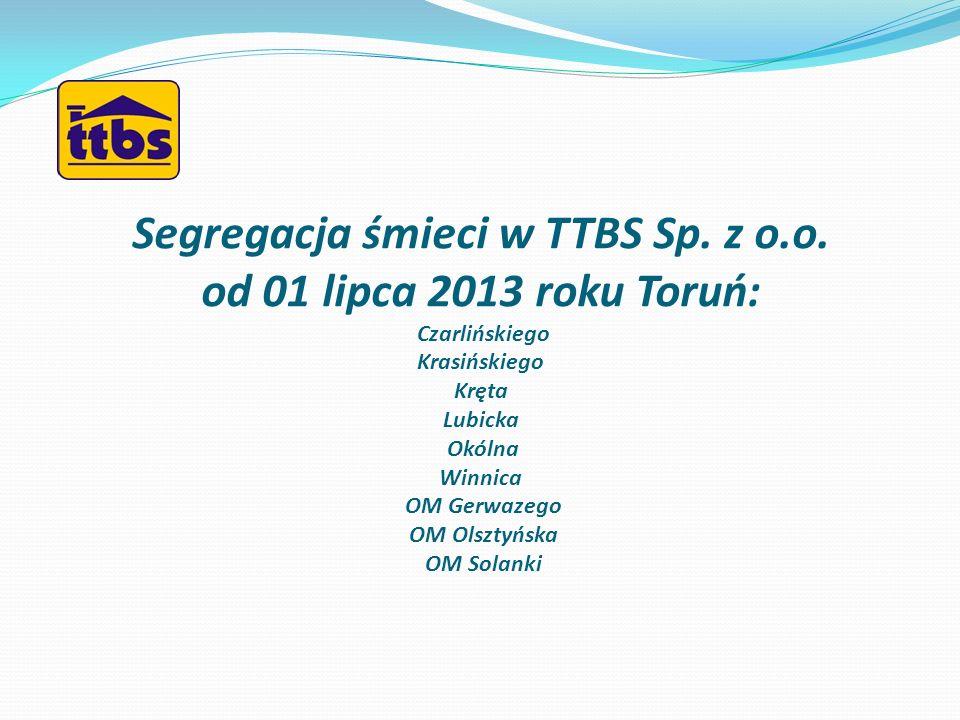 Segregacja śmieci w TTBS Sp. z o. o