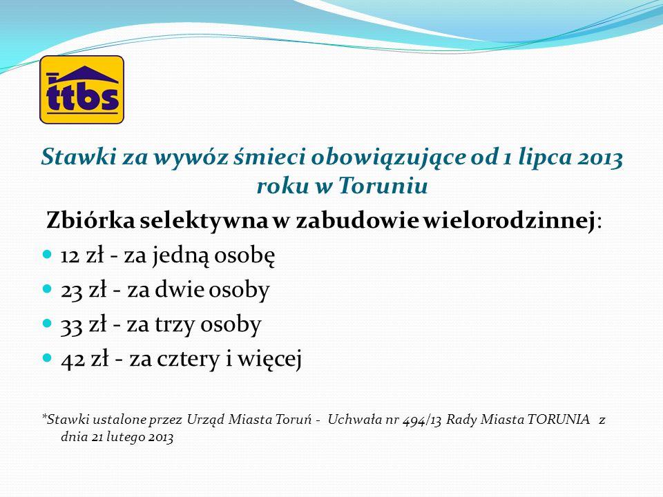 Stawki za wywóz śmieci obowiązujące od 1 lipca 2013 roku w Toruniu