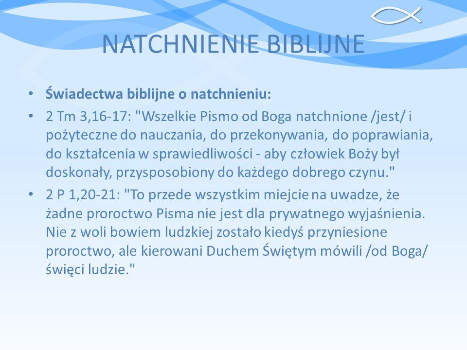 NATCHNIENIE BIBLIJNE Świadectwa biblijne o natchnieniu: