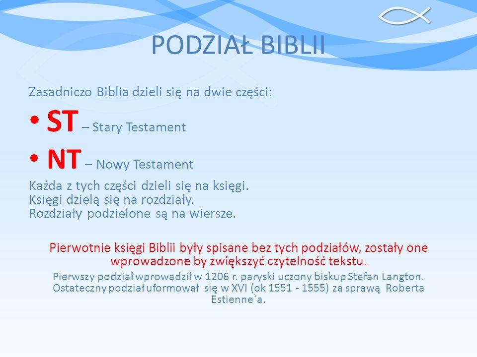 ST – Stary Testament NT – Nowy Testament PODZIAŁ BIBLII