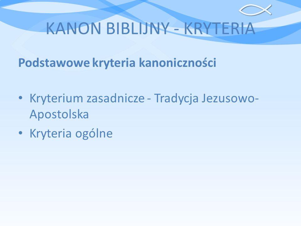 KANON BIBLIJNY - KRYTERIA
