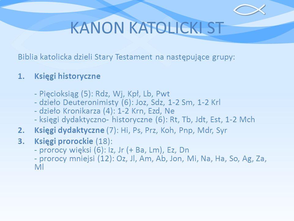 KANON KATOLICKI ST Biblia katolicka dzieli Stary Testament na następujące grupy: