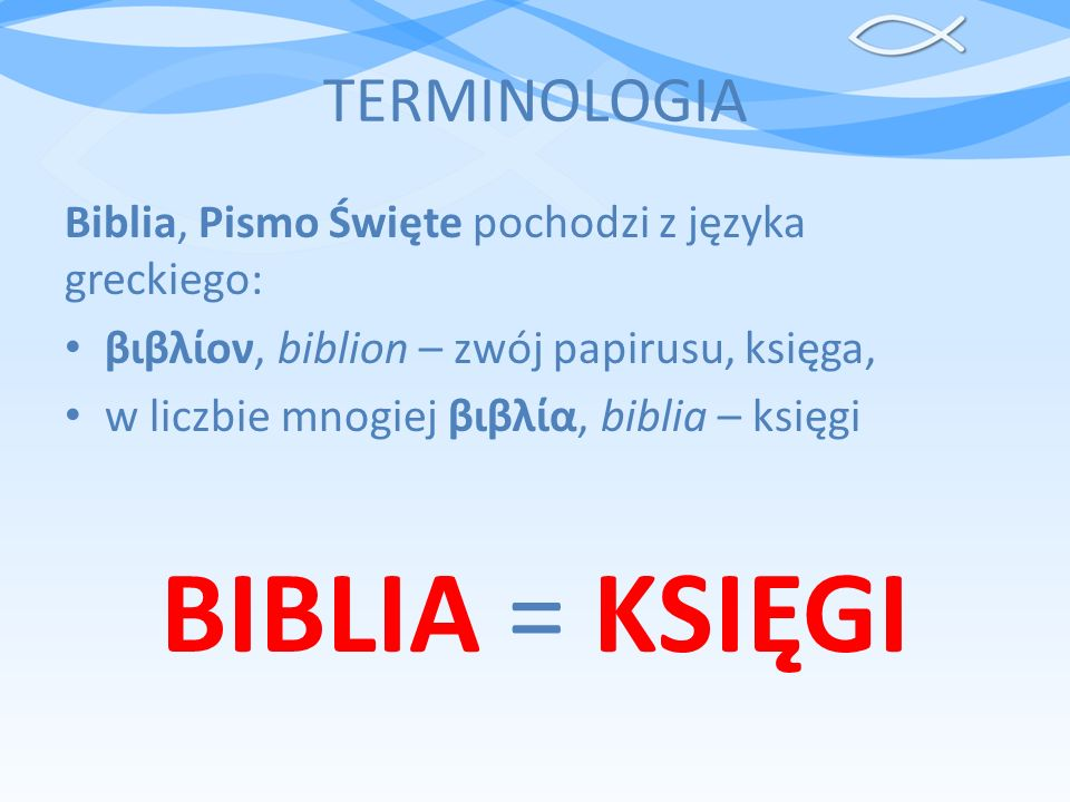 BIBLIA = KSIĘGI TERMINOLOGIA