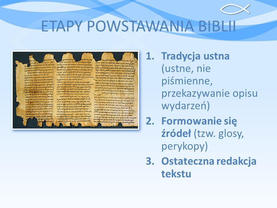ETAPY POWSTAWANIA BIBLII