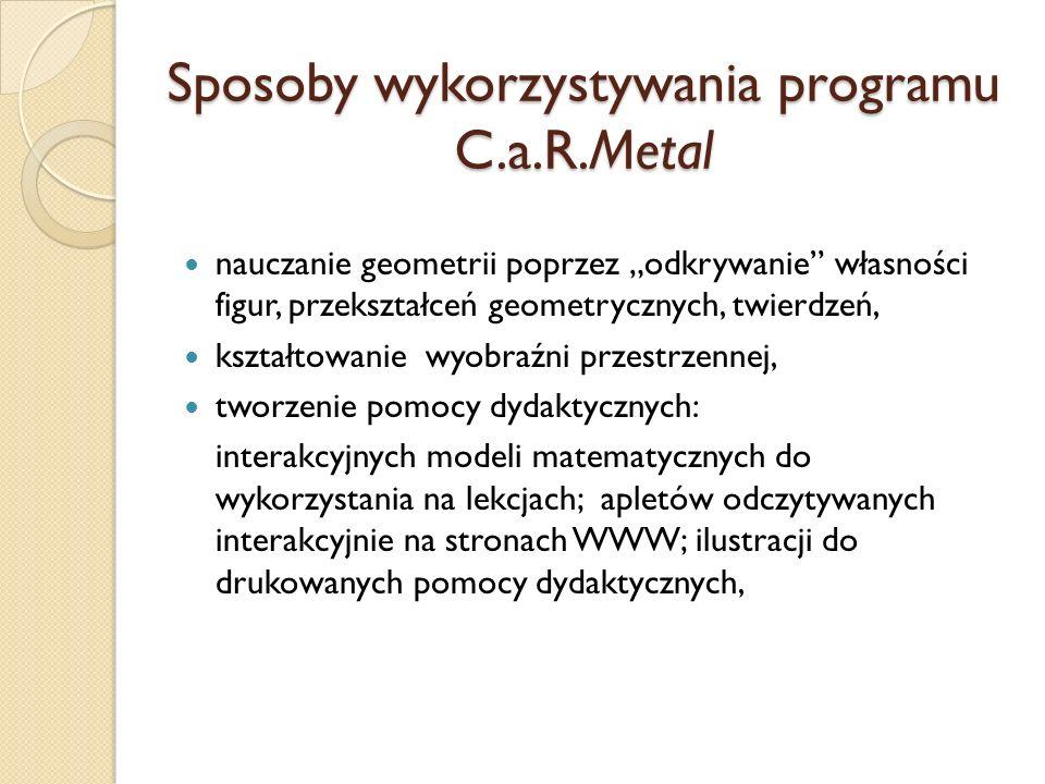Sposoby wykorzystywania programu C.a.R.Metal