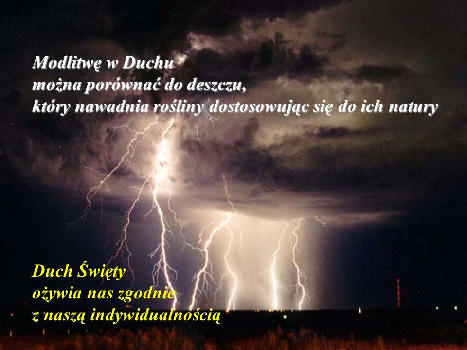 Modlitwę w Duchu można porównać do deszczu, który nawadnia rośliny dostosowując się do ich natury.