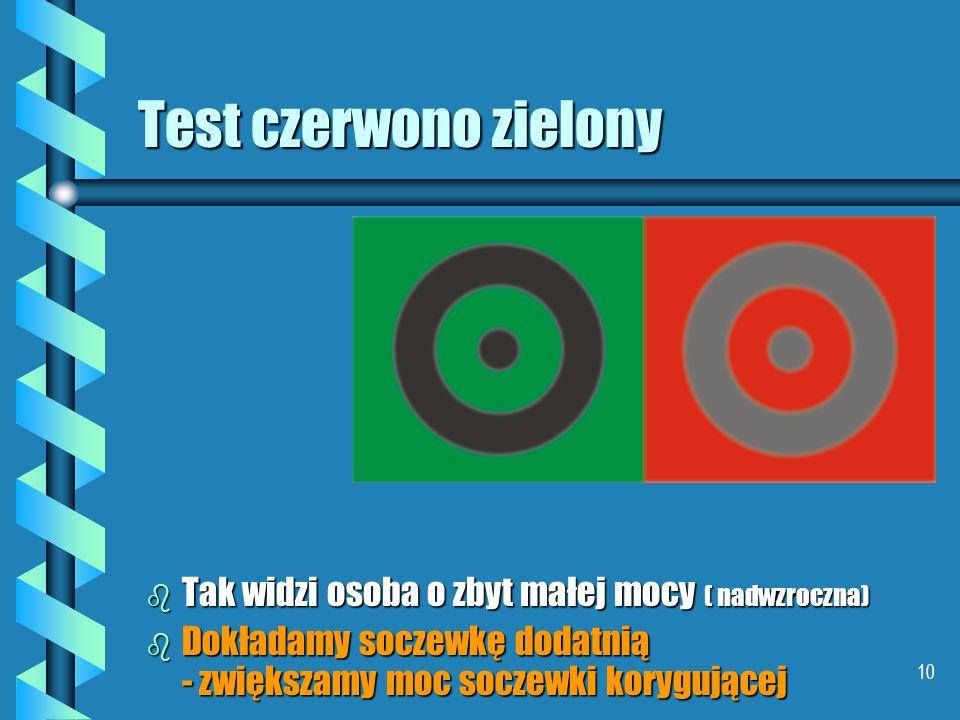 Test czerwono zielony Tak widzi osoba o zbyt małej mocy ( nadwzroczna)