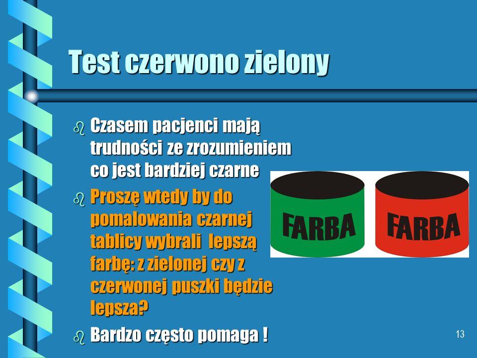 Test czerwono zielony Czasem pacjenci mają trudności ze zrozumieniem co jest bardziej czarne.