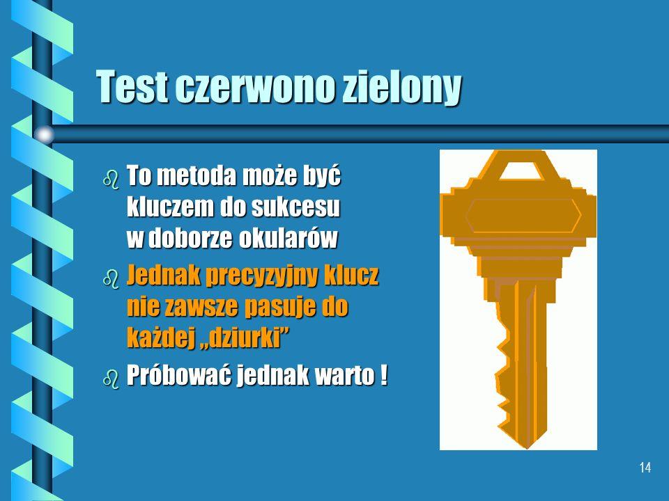"""Test czerwono zielony To metoda może być kluczem do sukcesu w doborze okularów. Jednak precyzyjny klucz nie zawsze pasuje do każdej """"dziurki"""