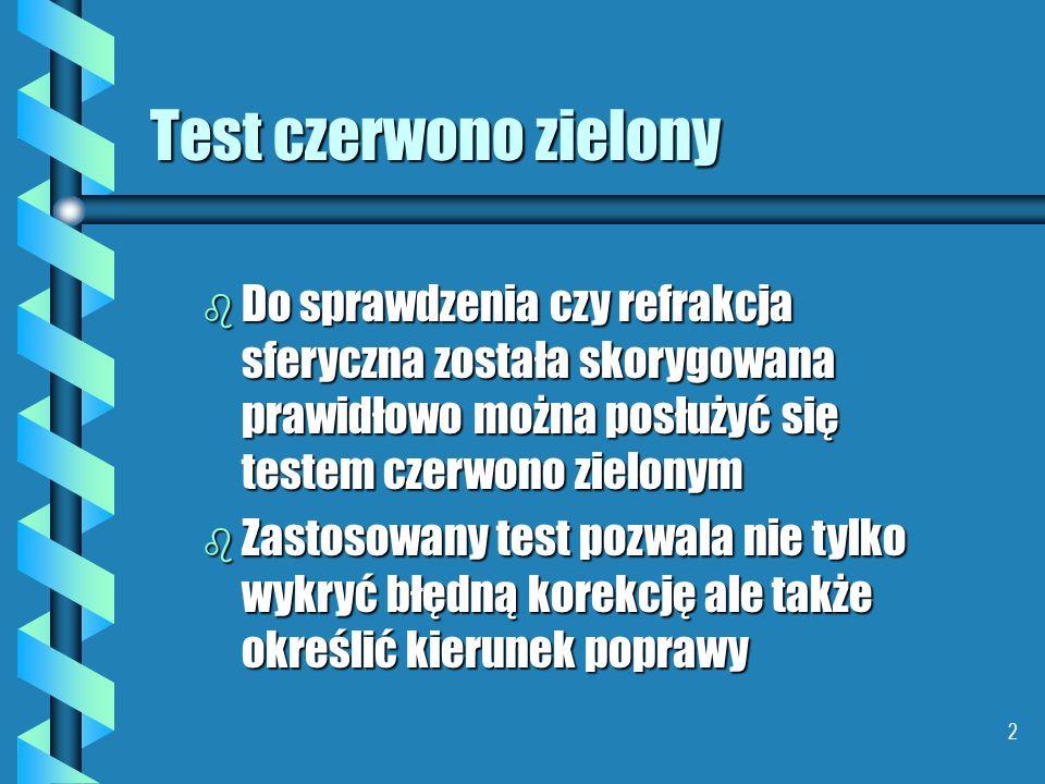 Test czerwono zielony Do sprawdzenia czy refrakcja sferyczna została skorygowana prawidłowo można posłużyć się testem czerwono zielonym.