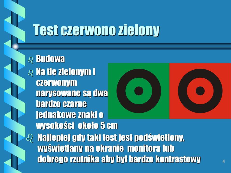 Test czerwono zielony Budowa
