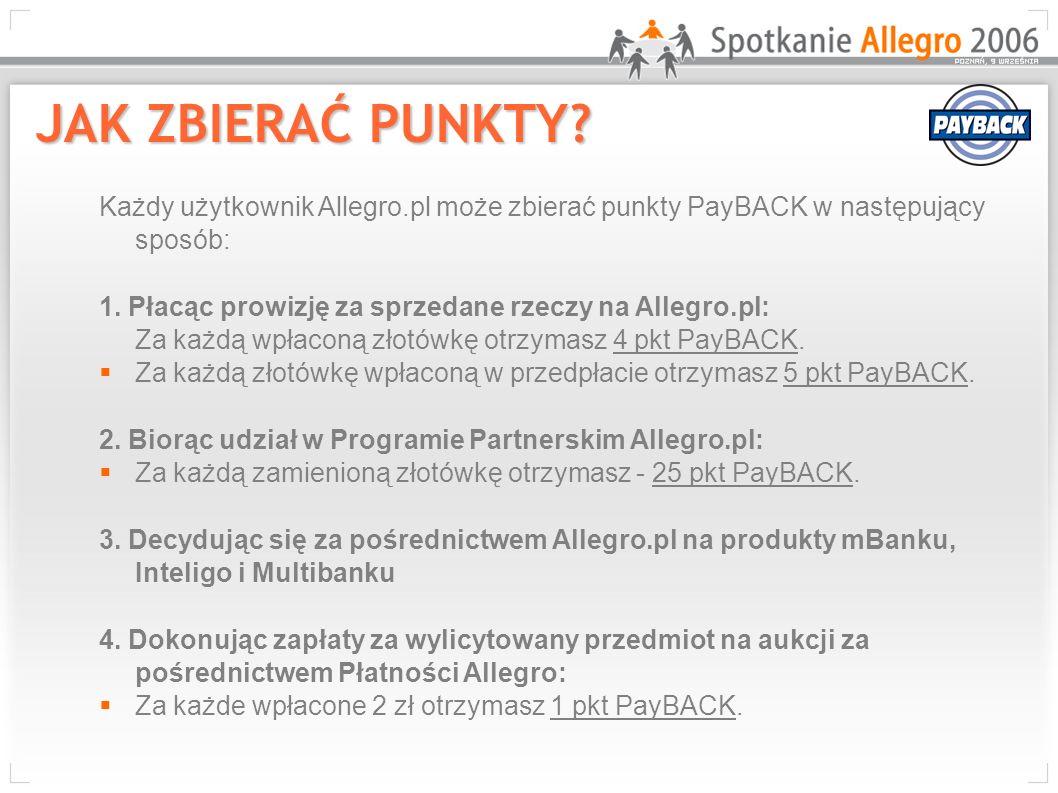 JAK ZBIERAĆ PUNKTY Każdy użytkownik Allegro.pl może zbierać punkty PayBACK w następujący sposób: