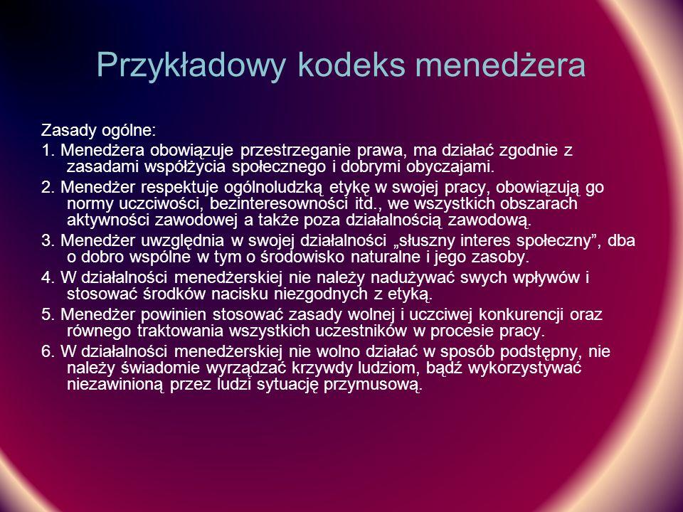 Przykładowy kodeks menedżera