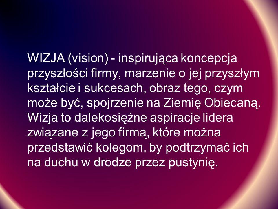 WIZJA (vision) - inspirująca koncepcja przyszłości firmy, marzenie o jej przyszłym kształcie i sukcesach, obraz tego, czym może być, spojrzenie na Ziemię Obiecaną.