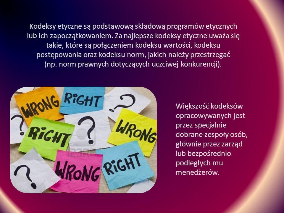 Kodeksy etyczne są podstawową składową programów etycznych lub ich zapoczątkowaniem. Za najlepsze kodeksy etyczne uważa się takie, które są połączeniem kodeksu wartości, kodeksu postępowania oraz kodeksu norm, jakich należy przestrzegać (np. norm prawnych dotyczących uczciwej konkurencji).