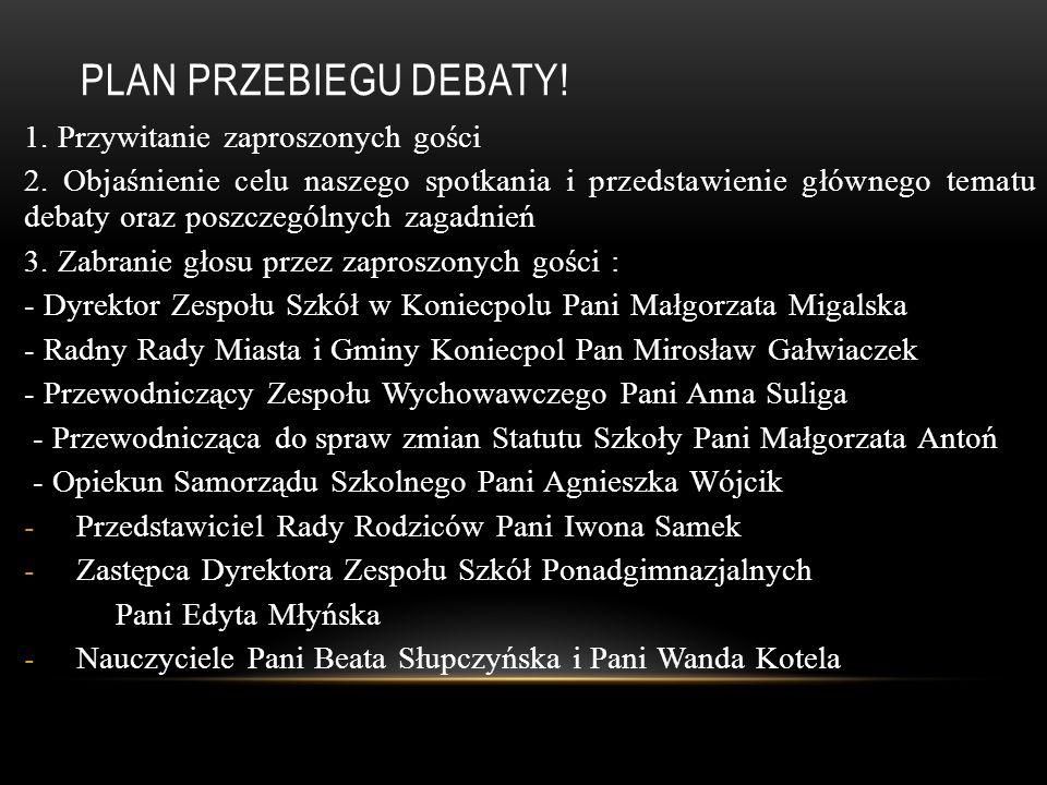Plan przebiegu debaty! 1. Przywitanie zaproszonych gości