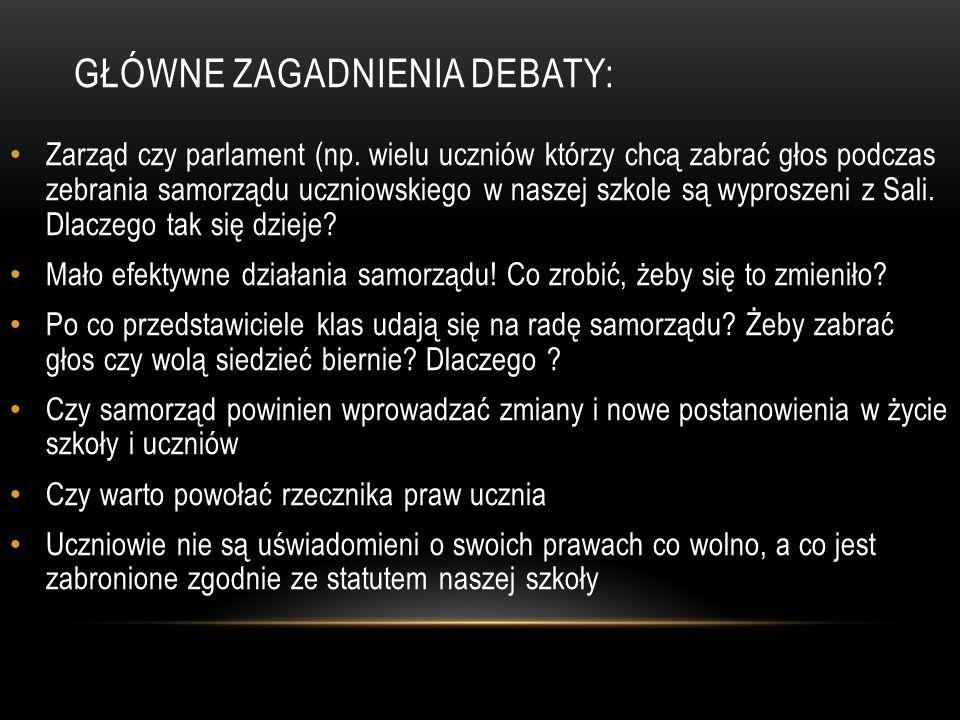 Główne zagadnienia debaty: