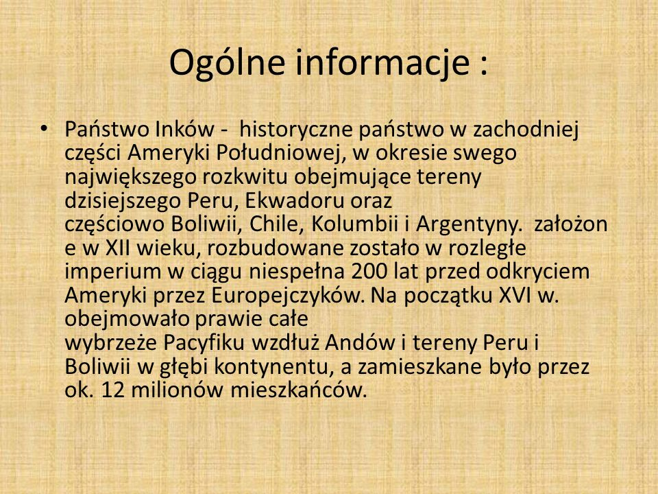 Ogólne informacje :