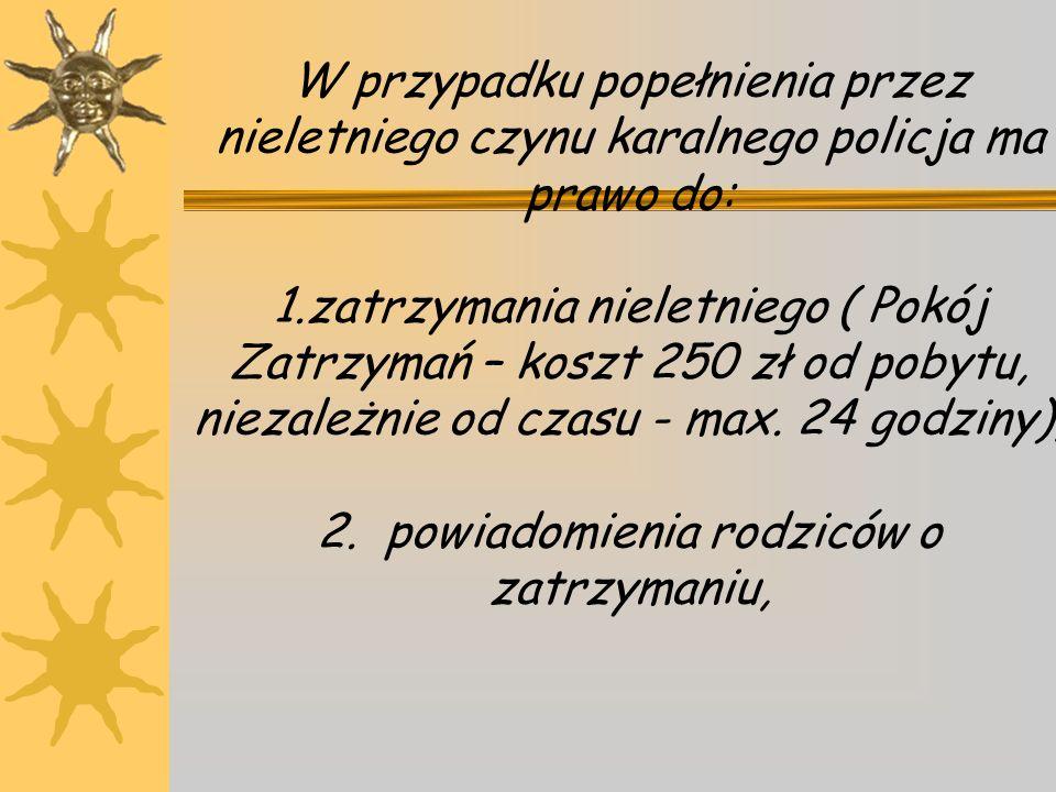 W przypadku popełnienia przez nieletniego czynu karalnego policja ma prawo do: 1.zatrzymania nieletniego ( Pokój Zatrzymań – koszt 250 zł od pobytu, niezależnie od czasu - max.