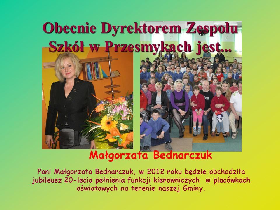 Obecnie Dyrektorem Zespołu Szkół w Przesmykach jest...