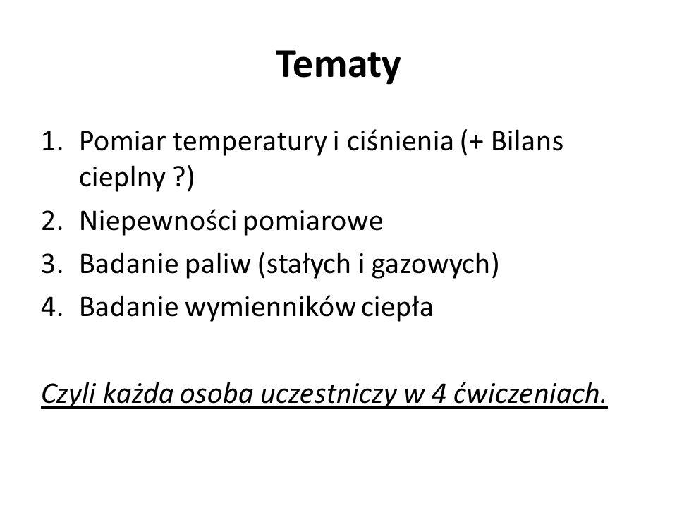 Tematy Pomiar temperatury i ciśnienia (+ Bilans cieplny )