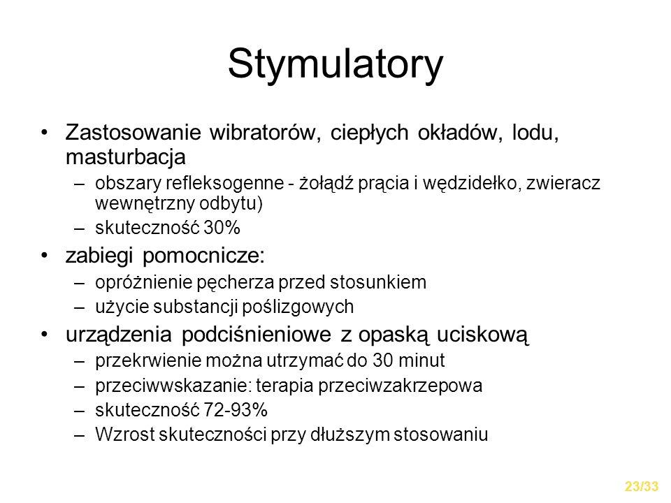 Stymulatory Zastosowanie wibratorów, ciepłych okładów, lodu, masturbacja.
