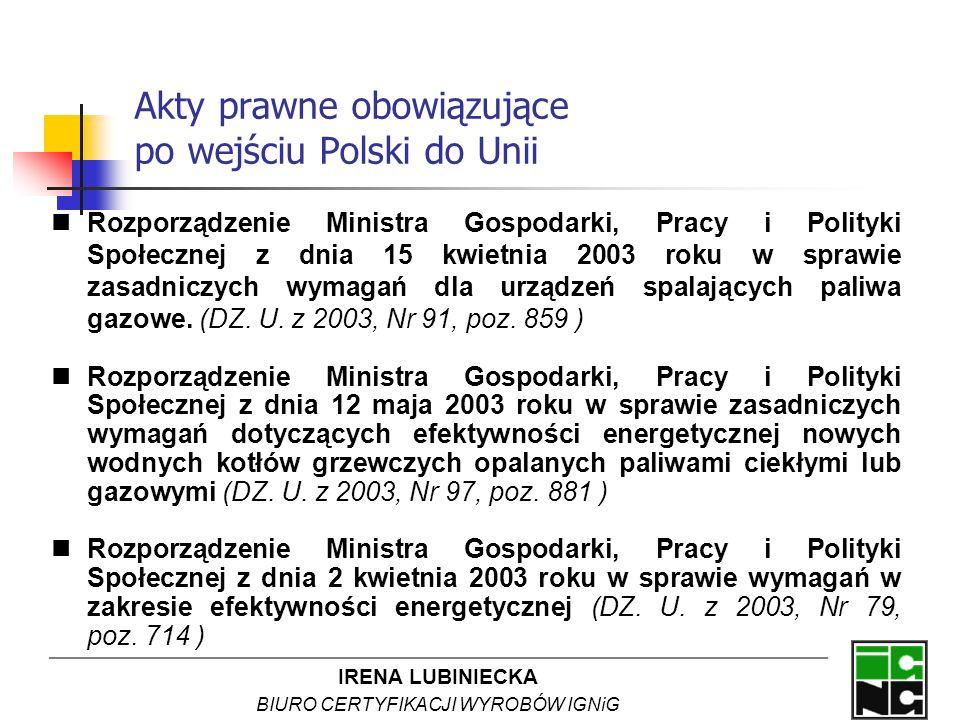 Akty prawne obowiązujące po wejściu Polski do Unii