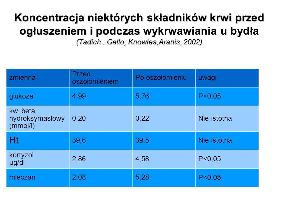 Koncentracja niektórych składników krwi przed ogłuszeniem i podczas wykrwawiania u bydła (Tadich , Gallo, Knowles,Aranis, 2002)