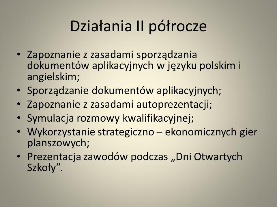 Działania II półrocze Zapoznanie z zasadami sporządzania dokumentów aplikacyjnych w języku polskim i angielskim;