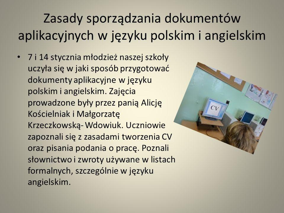 Zasady sporządzania dokumentów aplikacyjnych w języku polskim i angielskim