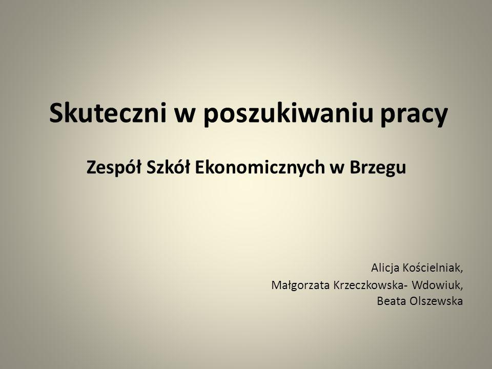 Skuteczni w poszukiwaniu pracy Zespół Szkół Ekonomicznych w Brzegu