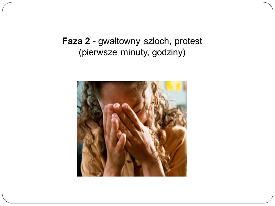 Faza 2 - gwałtowny szloch, protest (pierwsze minuty, godziny)