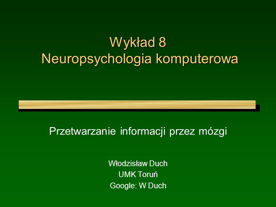 Wykład 8 Neuropsychologia komputerowa
