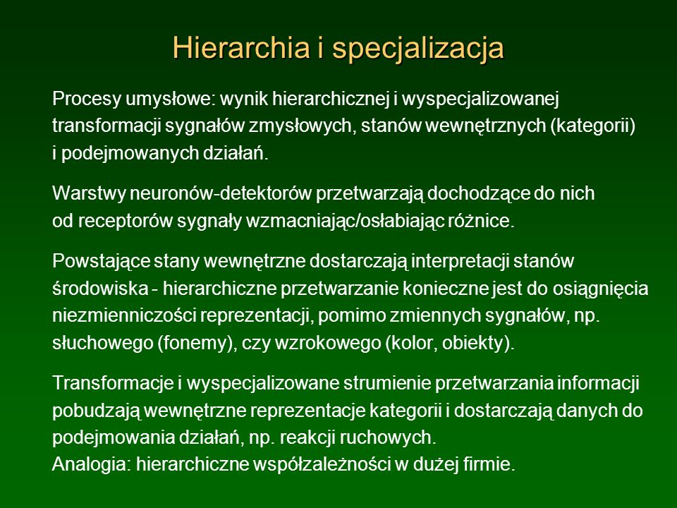 Hierarchia i specjalizacja
