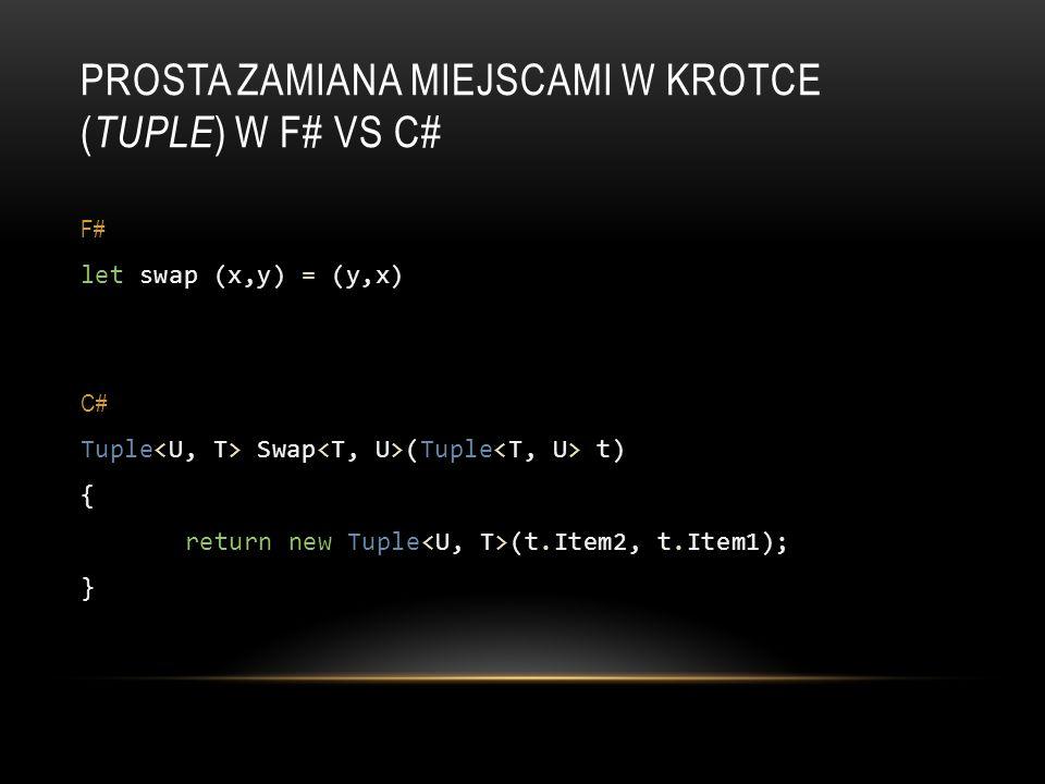 Prosta zamiana miejscami w Krotce (Tuple) w F# vs C#