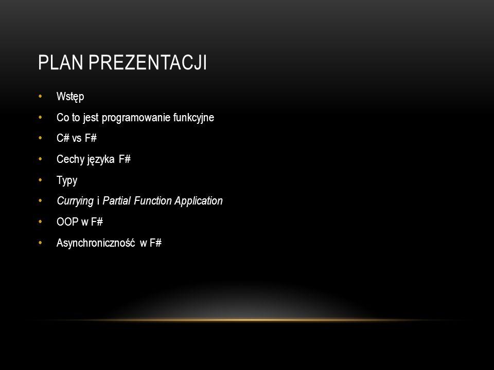 Plan prezentacji Wstęp Co to jest programowanie funkcyjne C# vs F#