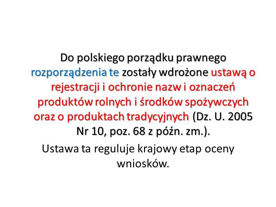 Do polskiego porządku prawnego rozporządzenia te zostały wdrożone ustawą o rejestracji i ochronie nazw i oznaczeń produktów rolnych i środków spożywczych oraz o produktach tradycyjnych (Dz.