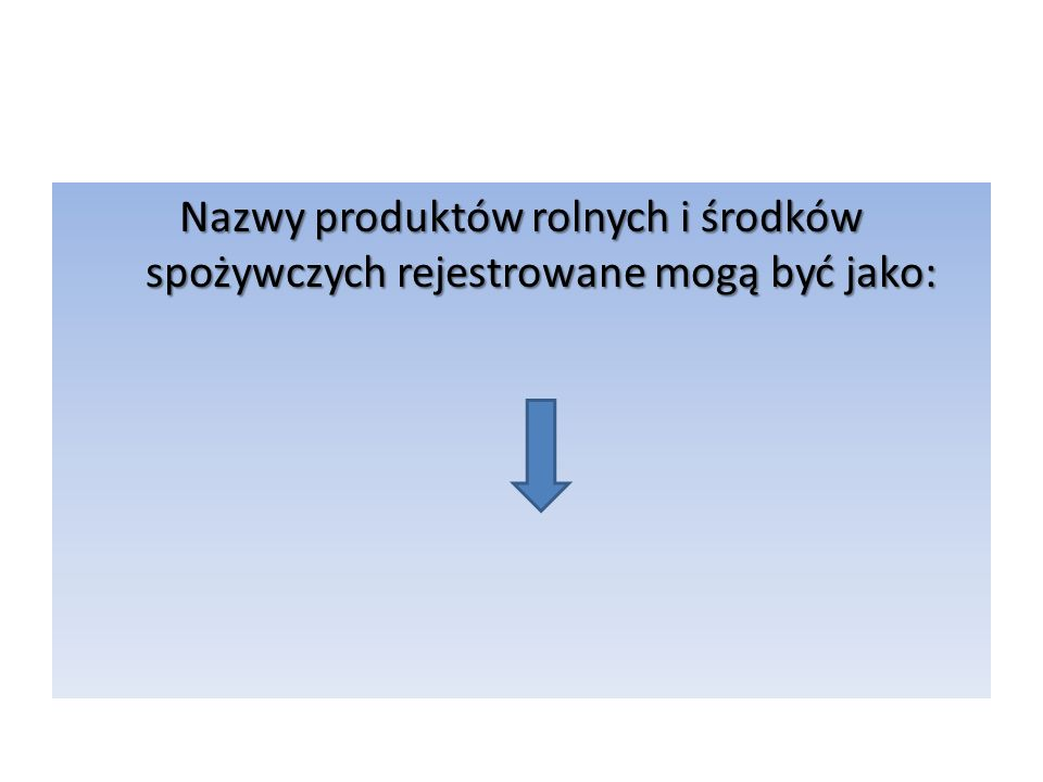 Nazwy produktów rolnych i środków spożywczych rejestrowane mogą być jako: