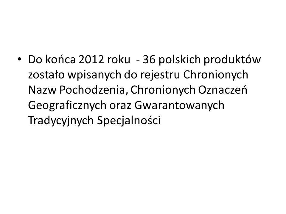 Do końca 2012 roku - 36 polskich produktów zostało wpisanych do rejestru Chronionych Nazw Pochodzenia, Chronionych Oznaczeń Geograficznych oraz Gwarantowanych Tradycyjnych Specjalności