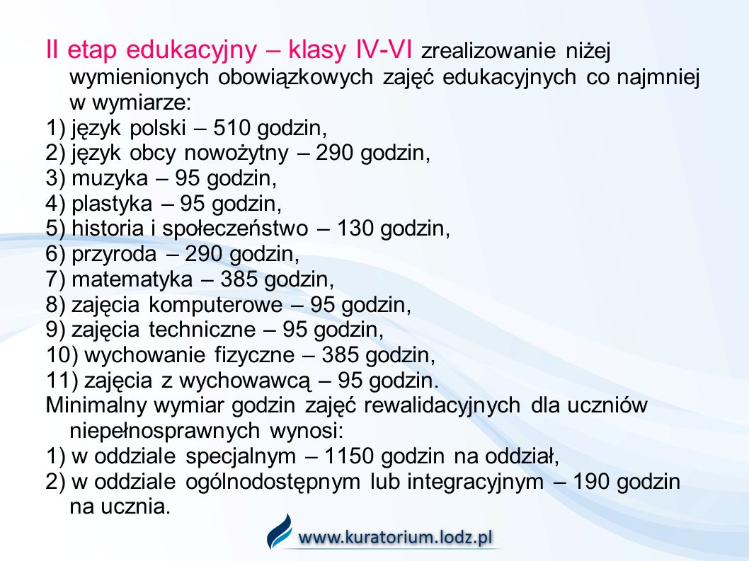 II etap edukacyjny – klasy IV-VI zrealizowanie niżej wymienionych obowiązkowych zajęć edukacyjnych co najmniej w wymiarze: