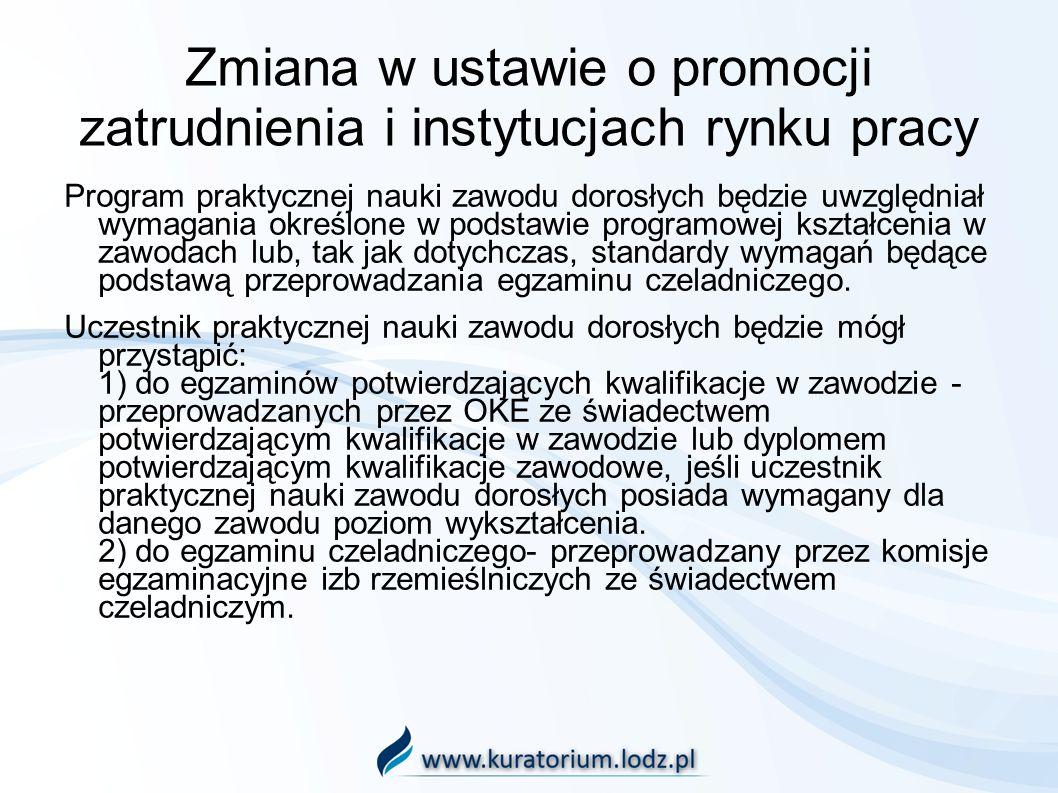 Zmiana w ustawie o promocji zatrudnienia i instytucjach rynku pracy