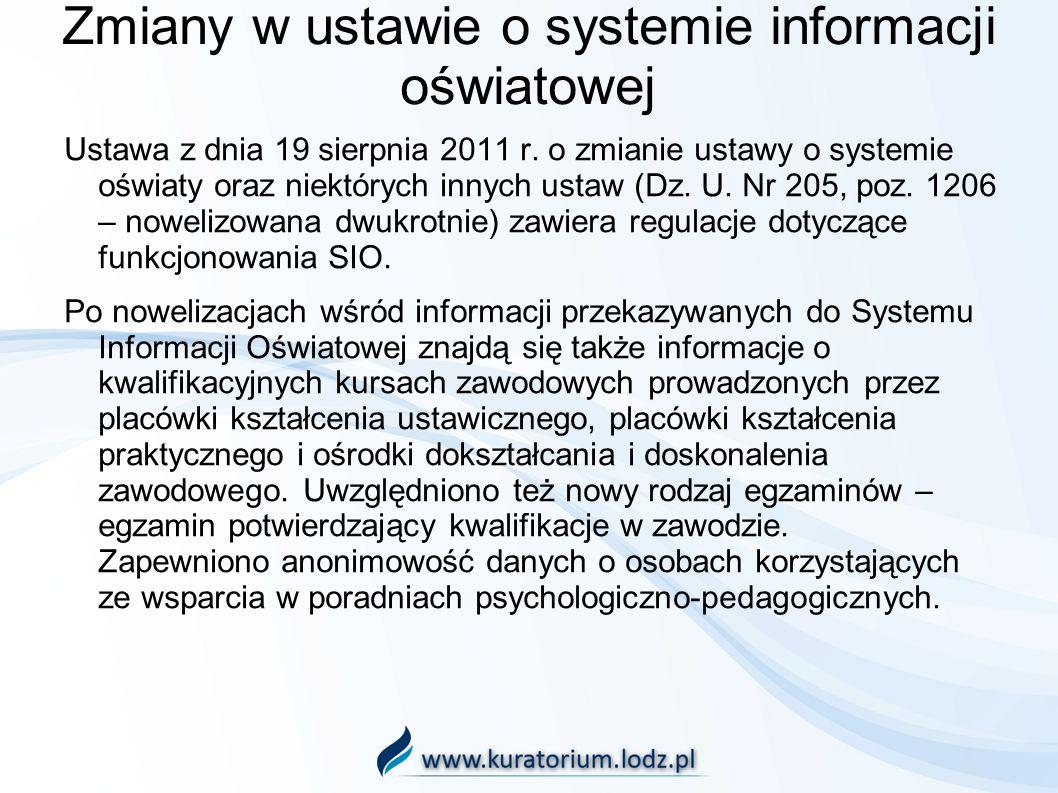 Zmiany w ustawie o systemie informacji oświatowej