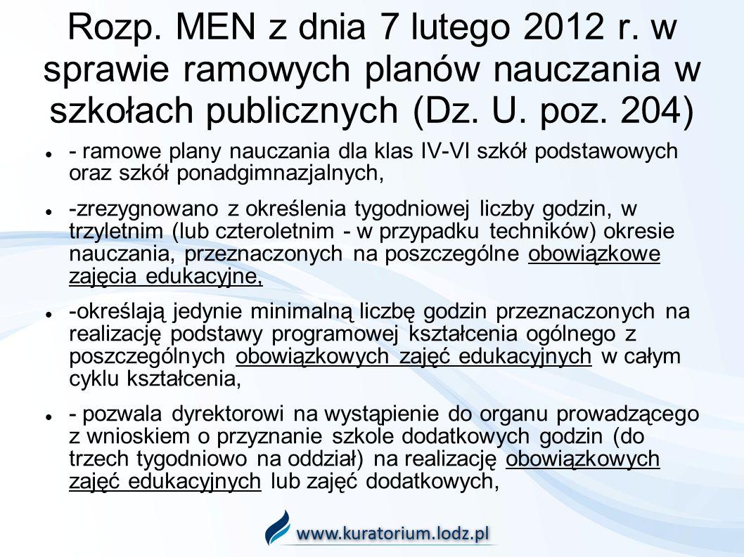 Rozp. MEN z dnia 7 lutego 2012 r. w sprawie ramowych planów nauczania w szkołach publicznych (Dz. U. poz. 204)