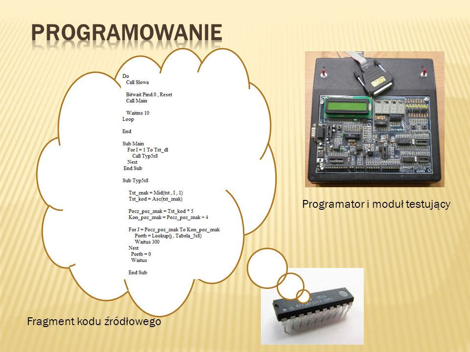 programowanie Programator i moduł testujący Fragment kodu źródłowego