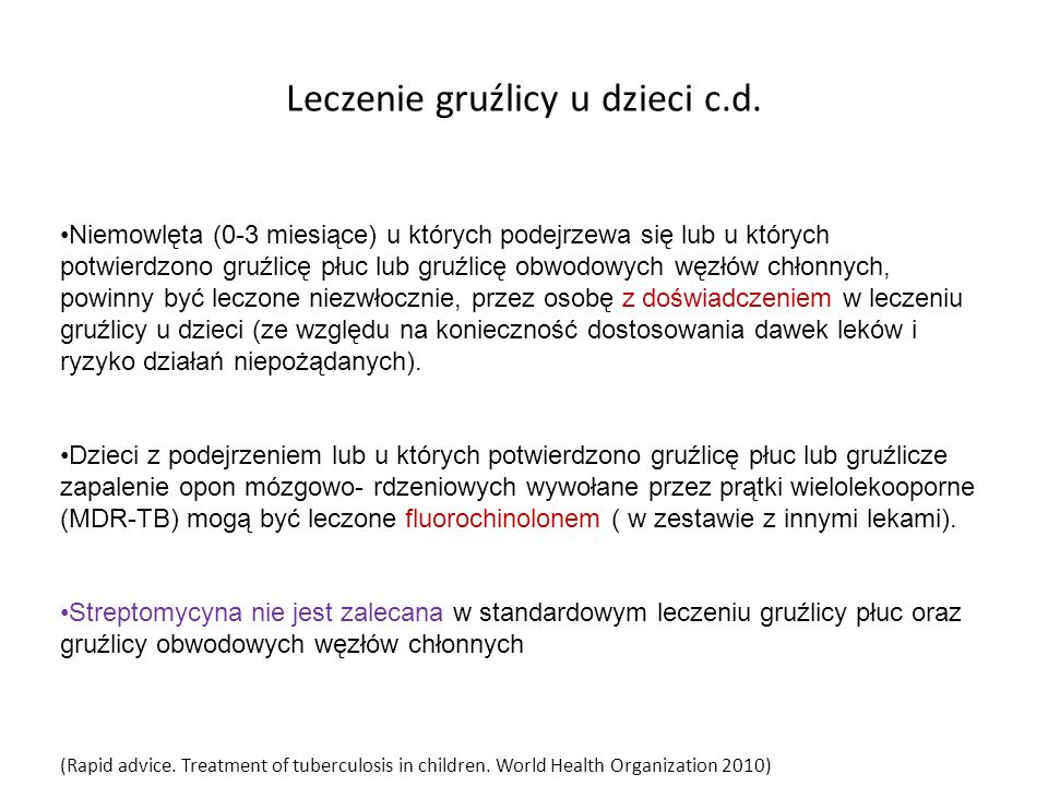 Leczenie gruźlicy u dzieci c.d.