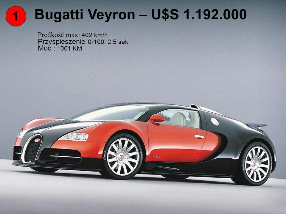 Bugatti Veyron – U$S 1.192.000 1 Prędkość max: 402 km/h