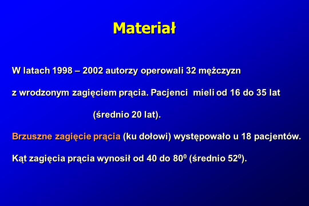 Materiał W latach 1998 – 2002 autorzy operowali 32 mężczyzn