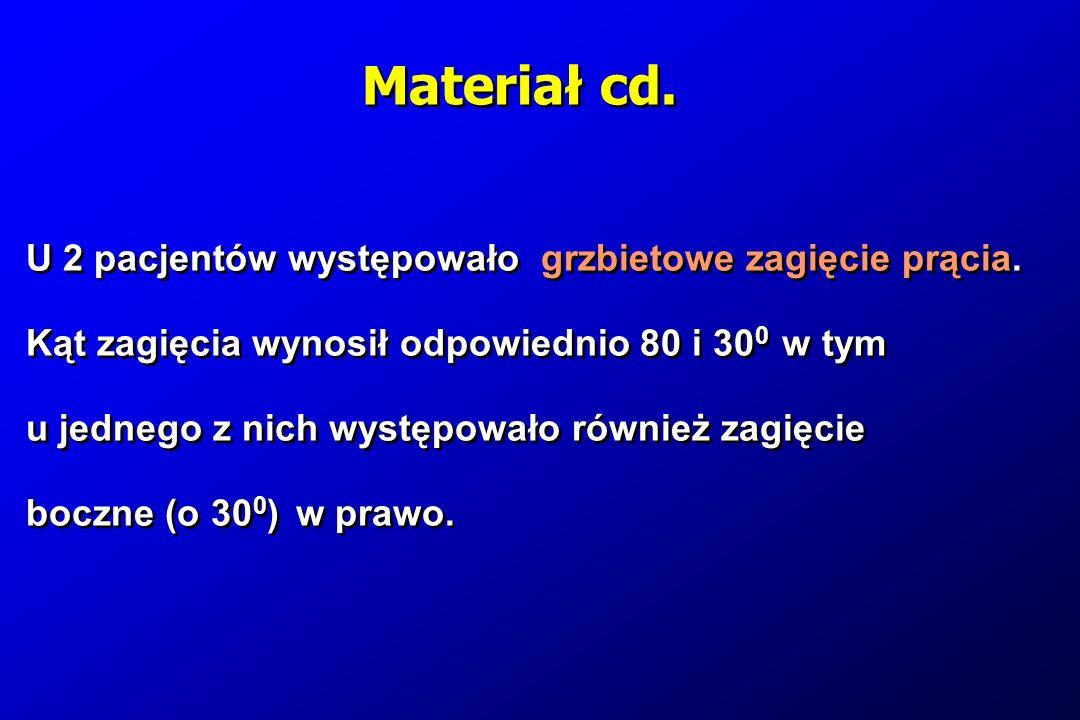 Materiał cd. U 2 pacjentów występowało grzbietowe zagięcie prącia.