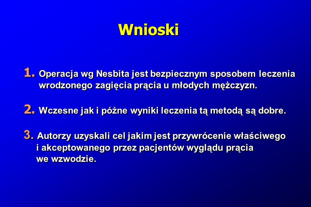 Wnioski 1. Operacja wg Nesbita jest bezpiecznym sposobem leczenia